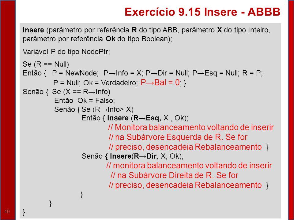40 Insere (parâmetro por referência R do tipo ABB, parâmetro X do tipo Inteiro, parâmetro por referência Ok do tipo Boolean); Variável P do tipo NodeP