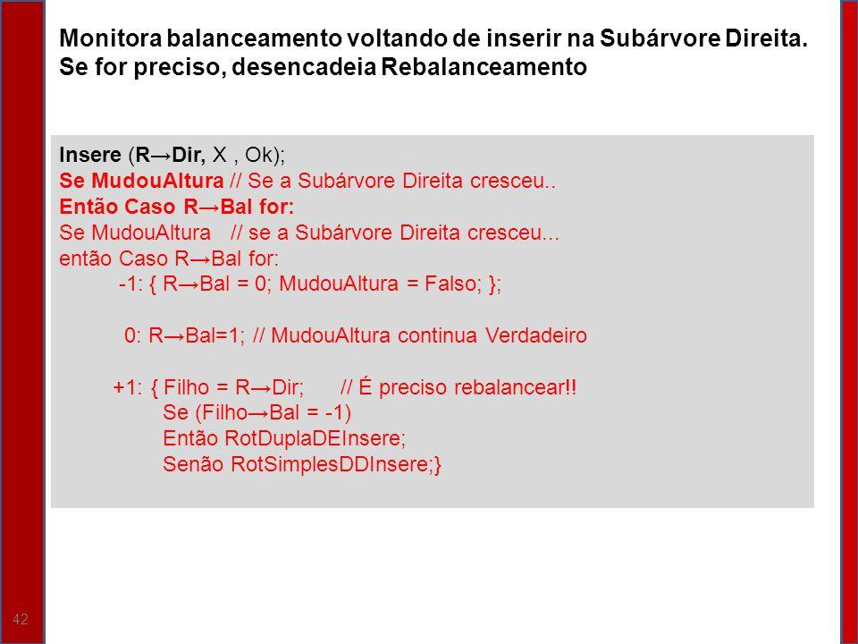 42 Insere (RDir, X, Ok); Se MudouAltura // Se a Subárvore Direita cresceu.. Então Caso RBal for: Se MudouAltura// se a Subárvore Direita cresceu... en