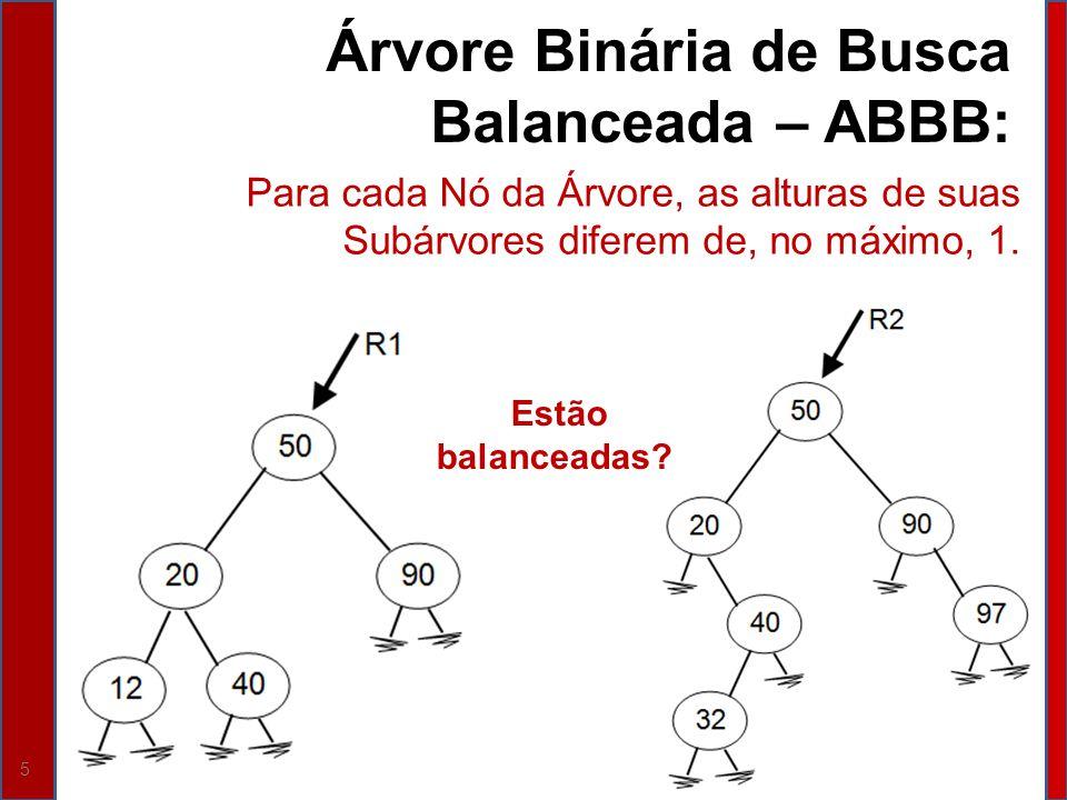 6 Estratégia para Manter uma ABB Balanceada: Alterar algoritmos de inserção e eliminação para: Monitorar o Balanceamento da Árvore; e Desencadear ações de rebalanceamento, sempre que necessário.