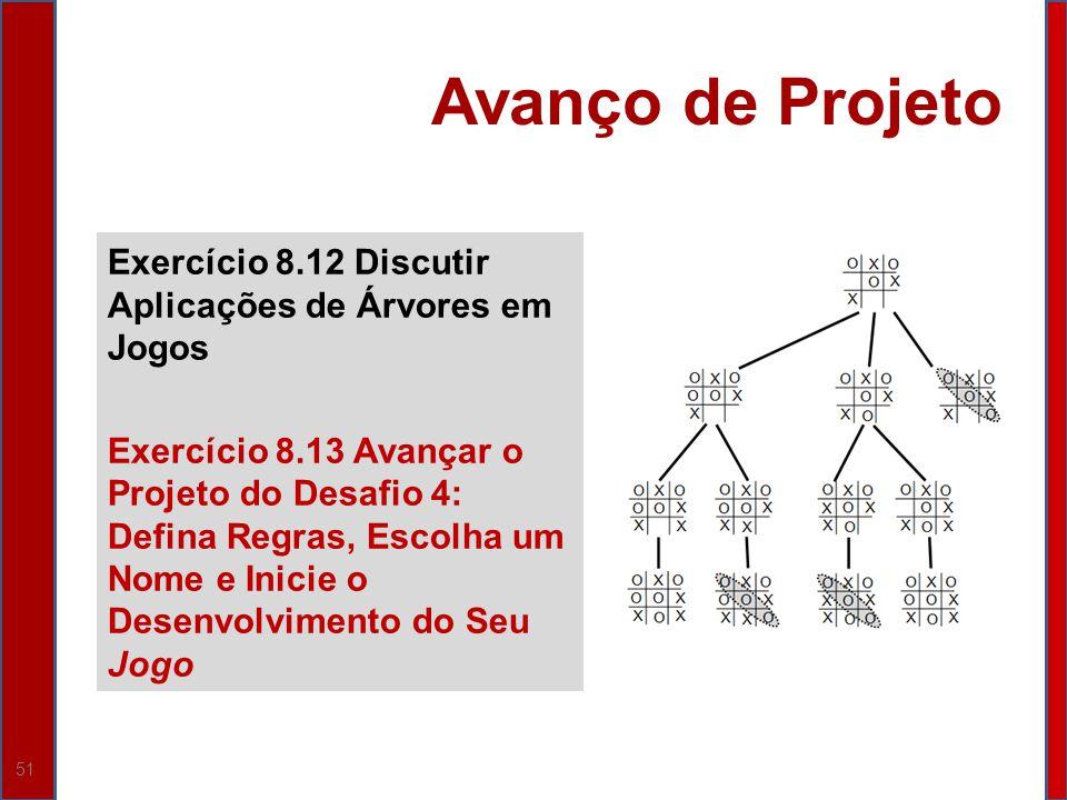 51 Avanço de Projeto Exercício 8.12 Discutir Aplicações de Árvores em Jogos Exercício 8.13 Avançar o Projeto do Desafio 4: Defina Regras, Escolha um N