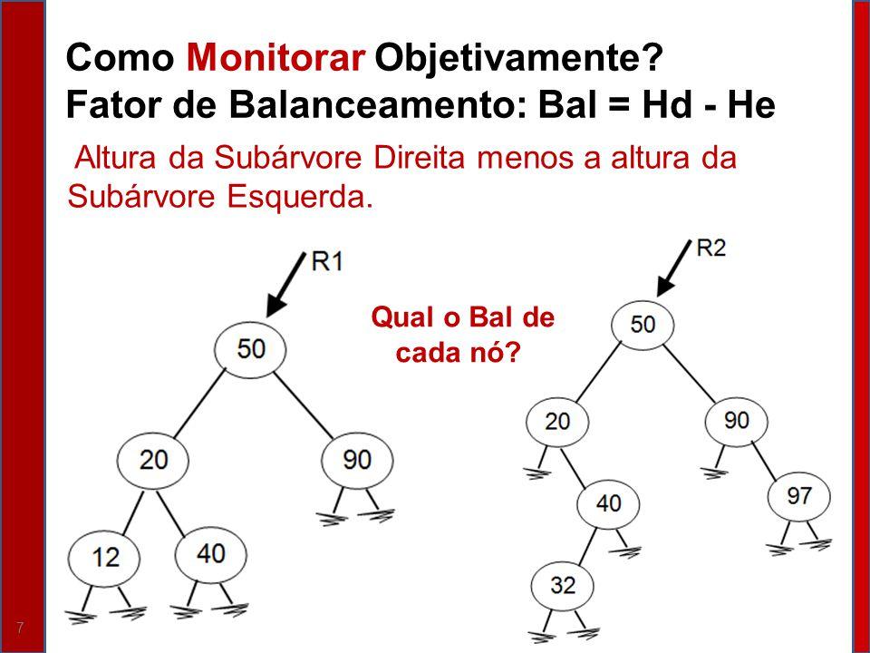 7 Como Monitorar Objetivamente? Fator de Balanceamento: Bal = Hd - He Altura da Subárvore Direita menos a altura da Subárvore Esquerda. Qual o Bal de