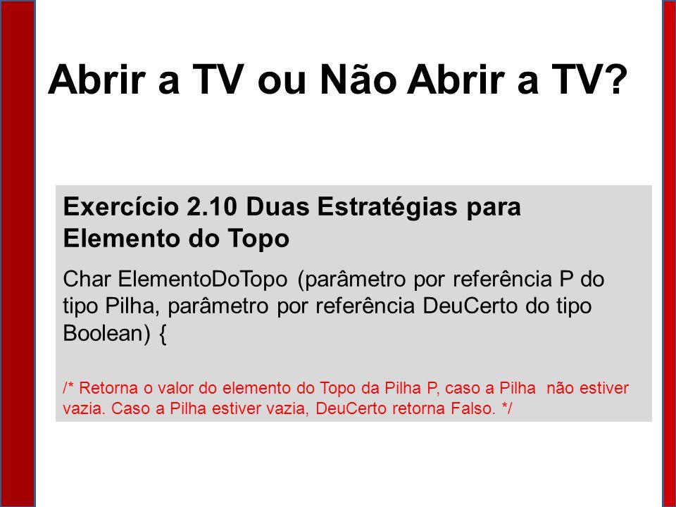 Abrir a TV ou Não Abrir a TV.