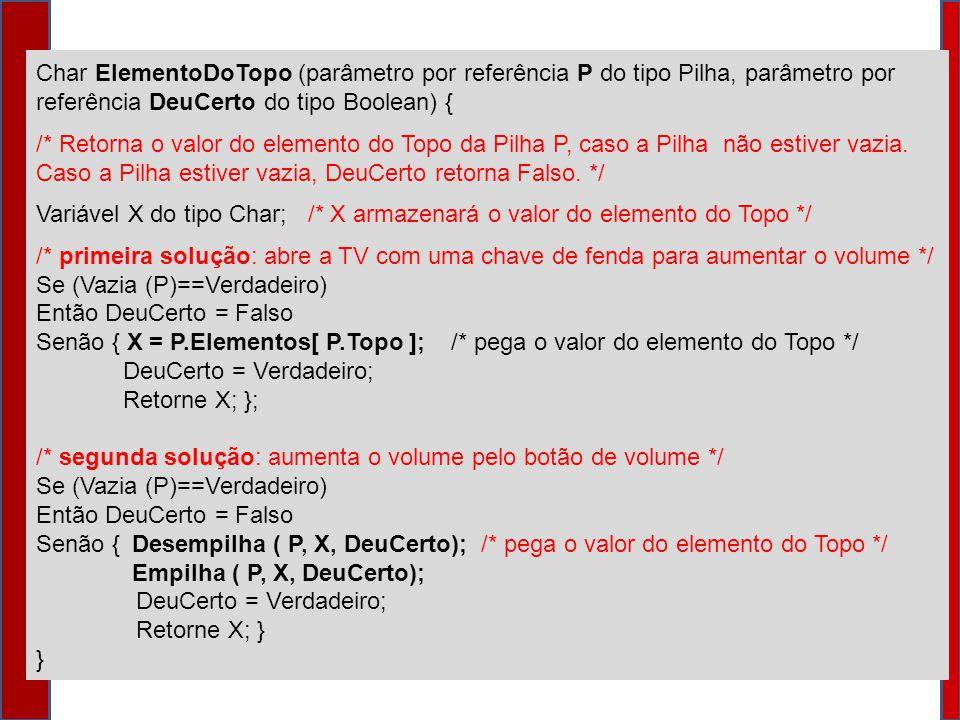 Char ElementoDoTopo (parâmetro por referência P do tipo Pilha, parâmetro por referência DeuCerto do tipo Boolean) { /* Retorna o valor do elemento do Topo da Pilha P, caso a Pilha não estiver vazia.