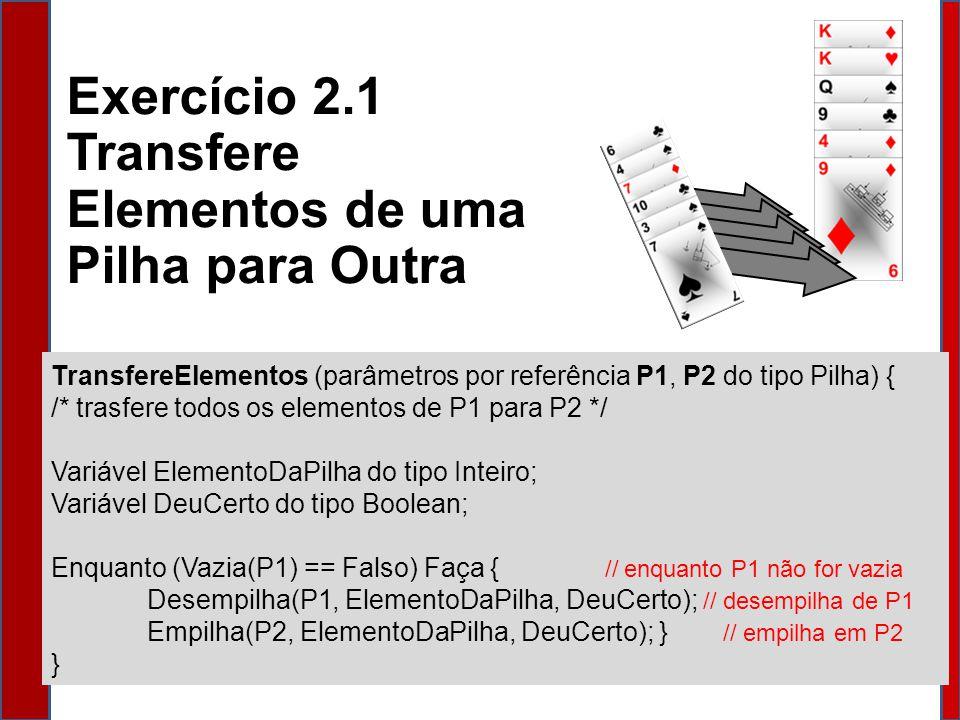 TransfereElementos (parâmetros por referência P1, P2 do tipo Pilha) { /* trasfere todos os elementos de P1 para P2 */ Variável ElementoDaPilha do tipo Inteiro; Variável DeuCerto do tipo Boolean; Enquanto (Vazia(P1) == Falso) Faça { // enquanto P1 não for vazia Desempilha(P1, ElementoDaPilha, DeuCerto); // desempilha de P1 Empilha(P2, ElementoDaPilha, DeuCerto); } // empilha em P2 } Exercício 2.1 Transfere Elementos de uma Pilha para Outra