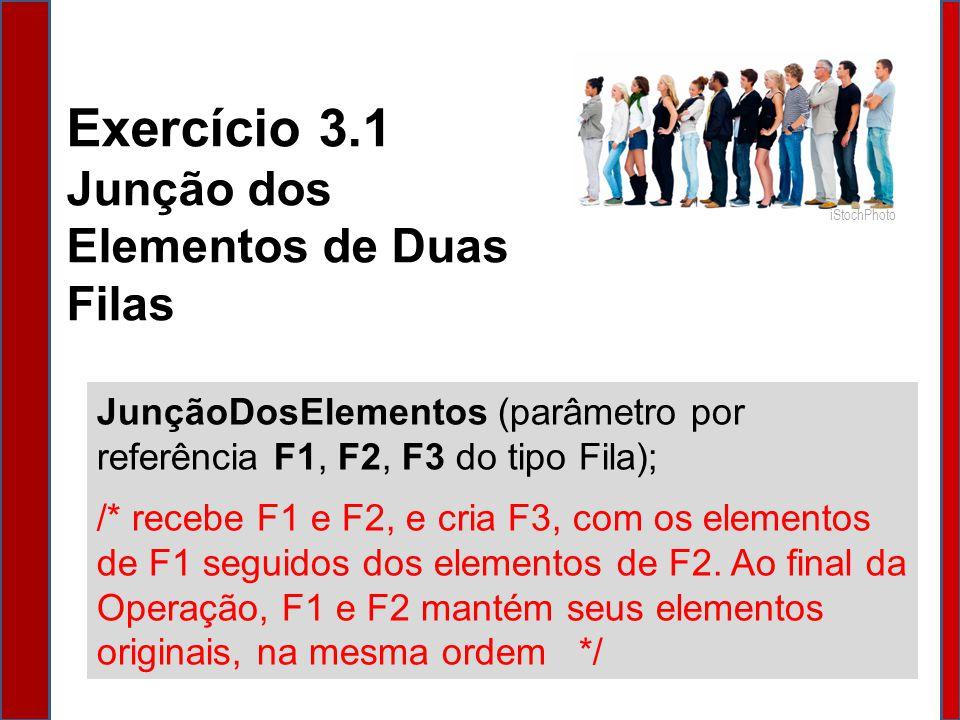 JunçãoDosElementos (parâmetro por referência F1, F2, F3 do tipo Fila) { Variável ElementoDaFila do tipo Char; Variável FilaAuxiliar do tipo Fila; Cria (FilaAuxiliar); Cria (F3); /* Passando os elementos de F1 para F3 e também para FilaAuxiliar */ Enquanto (Vazia(F1) == Falso) Faça { // enquanto F1 não for vazia...