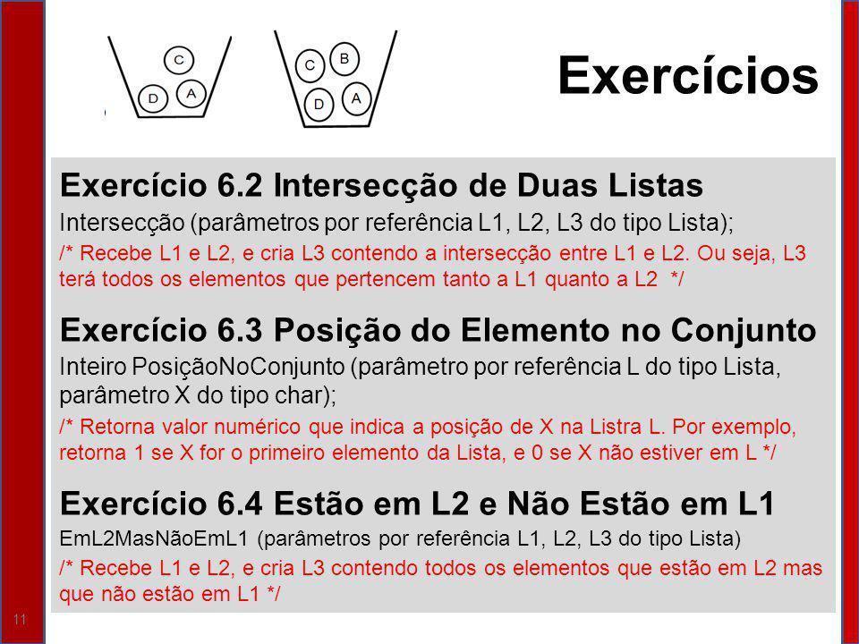 11 Exercício 6.2 Intersecção de Duas Listas Intersecção (parâmetros por referência L1, L2, L3 do tipo Lista); /* Recebe L1 e L2, e cria L3 contendo a intersecção entre L1 e L2.