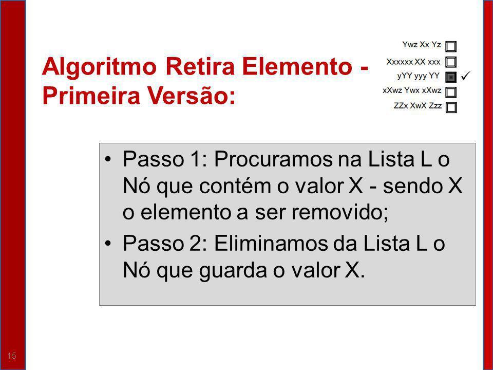 15 Algoritmo Retira Elemento - Primeira Versão: Passo 1: Procuramos na Lista L o Nó que contém o valor X - sendo X o elemento a ser removido; Passo 2: Eliminamos da Lista L o Nó que guarda o valor X.