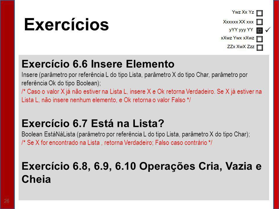 26 Exercício 6.6 Insere Elemento Insere (parâmetro por referência L do tipo Lista, parâmetro X do tipo Char, parâmetro por referência Ok do tipo Boole
