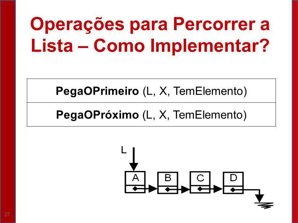 27 Operações para Percorrer a Lista – Como Implementar? PegaOPrimeiro (L, X, TemElemento) PegaOPróximo (L, X, TemElemento)