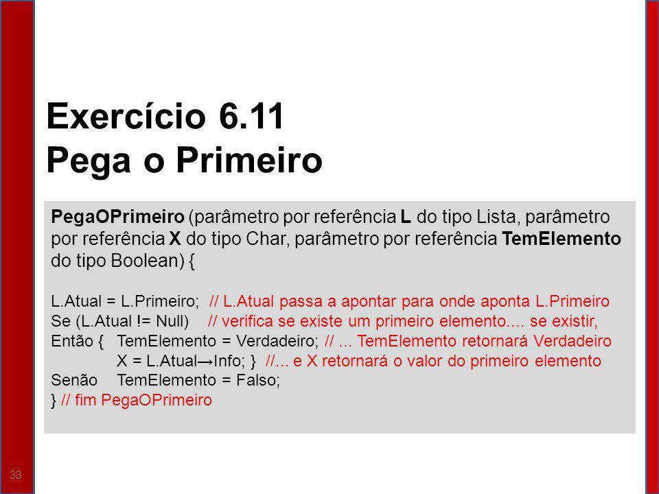 33 PegaOPrimeiro (parâmetro por referência L do tipo Lista, parâmetro por referência X do tipo Char, parâmetro por referência TemElemento do tipo Bool