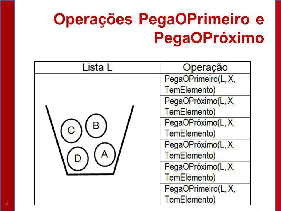 29 Operação PegaOProximo (L, X, TemElemento) Resultado TemElemento: VerdadeiroX: B
