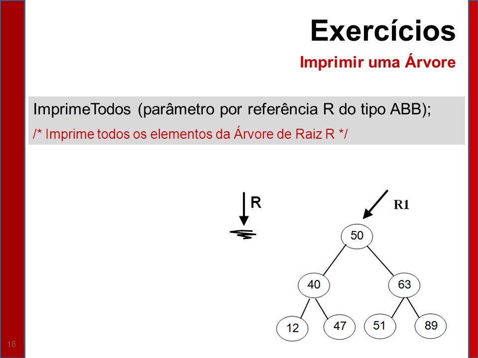 18 ImprimeTodos (parâmetro por referência R do tipo ABB); /* Imprime todos os elementos da Árvore de Raiz R */ Exercícios Imprimir uma Árvore