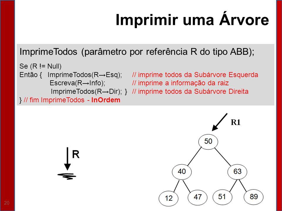 20 ImprimeTodos (parâmetro por referência R do tipo ABB); Se (R != Null) Então {ImprimeTodos(REsq);// imprime todos da Subárvore Esquerda Escreva(RInf