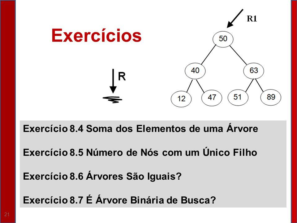 21 Exercício 8.4 Soma dos Elementos de uma Árvore Exercício 8.5 Número de Nós com um Único Filho Exercício 8.6 Árvores São Iguais? Exercício 8.7 É Árv