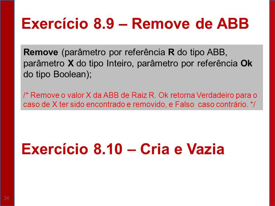 34 Exercício 8.9 – Remove de ABB Remove (parâmetro por referência R do tipo ABB, parâmetro X do tipo Inteiro, parâmetro por referência Ok do tipo Bool