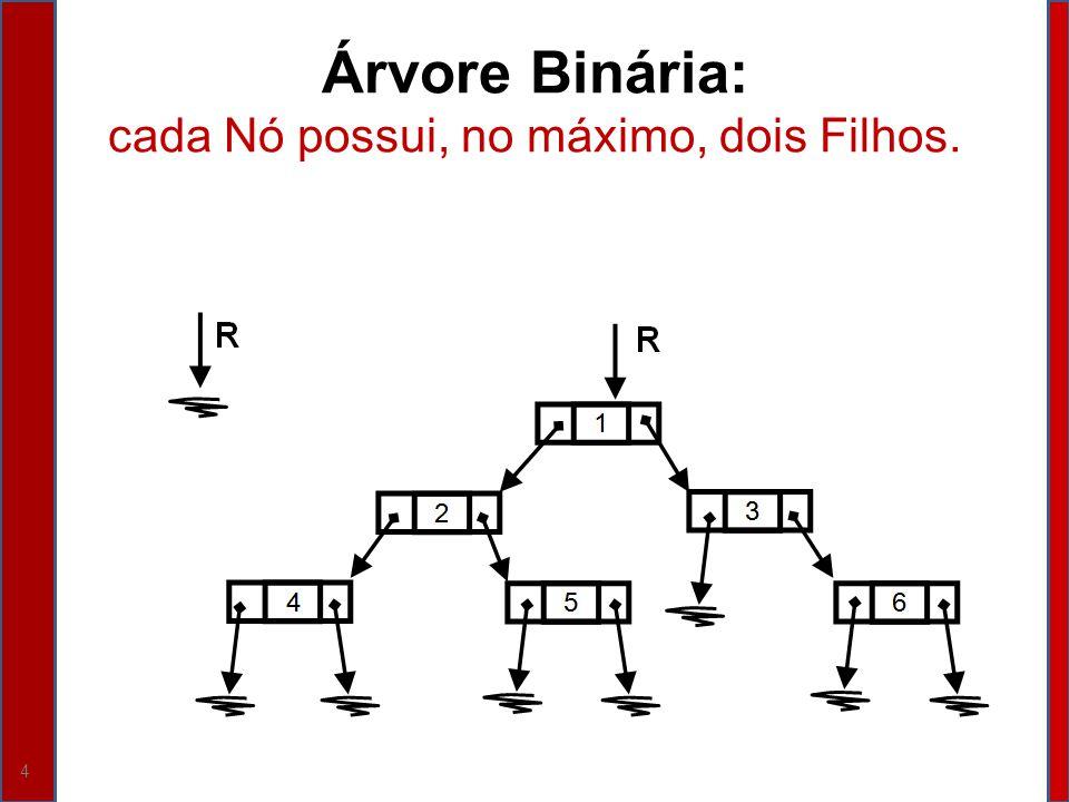 5 Árvore Binária de Busca - ABB Três Critérios: 1.A Informação de cada Nó da Subárvore Esquerda de R é menor do que a Informação armazenada no Nó apontado por R; 2.A Informação de cada Nó da Subárvore Direita de R é maior do que a Informação armazenada no Nó apontado por R; 3.As Subárvores Esquerda e Direita do Nó apontado por R também são ABBs.
