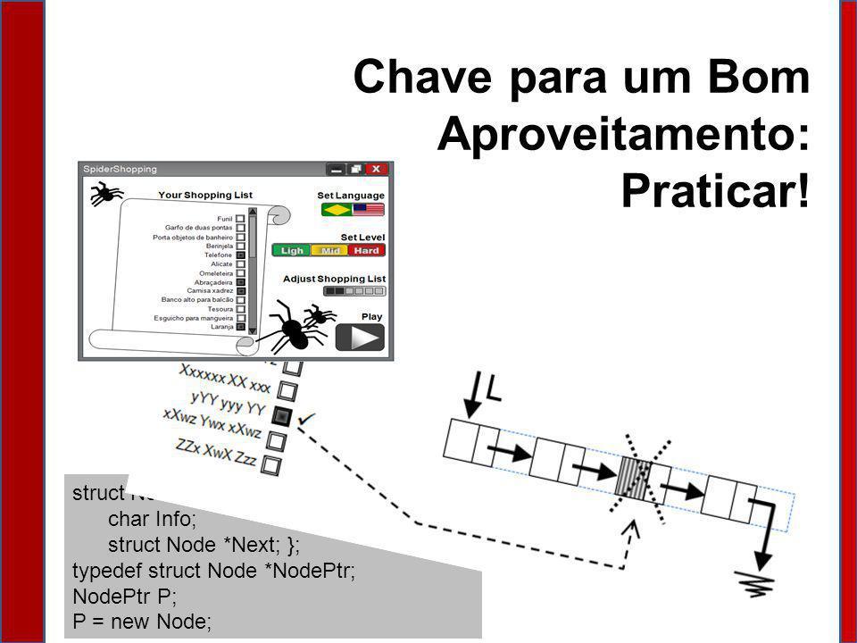 Chave para um Bom Aproveitamento: Praticar! struct Node { char Info; struct Node *Next; }; typedef struct Node *NodePtr; NodePtr P; P = new Node;