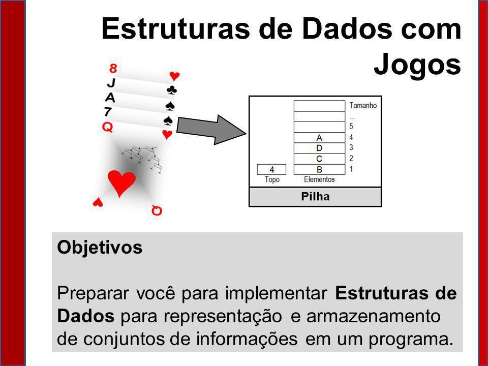 Estruturas de Dados com Jogos Objetivos Preparar você para implementar Estruturas de Dados para representação e armazenamento de conjuntos de informaç