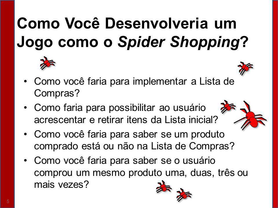 Como Você Desenvolveria um Jogo como o Spider Shopping? Como você faria para implementar a Lista de Compras? Como faria para possibilitar ao usuário a