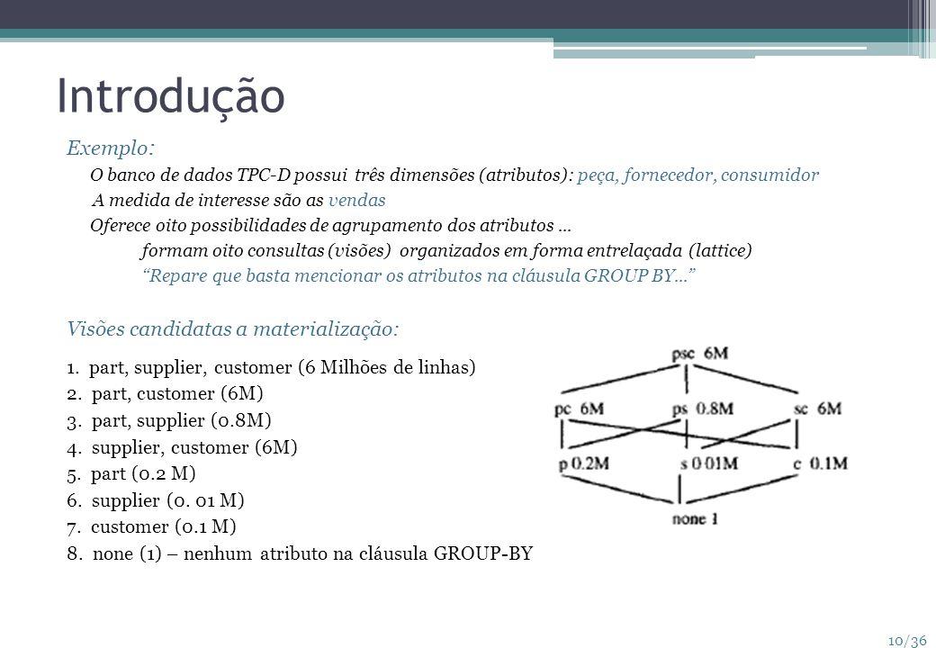 10/36 Introdução Exemplo : O banco de dados TPC-D possui três dimensões (atributos): peça, fornecedor, consumidor A medida de interesse são as vendas
