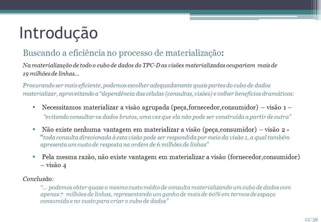 12/36 Introdução Buscando a eficiência no processo de materialização: Na materialização de todo o cubo de dados do TPC-D as visões materializadas ocup