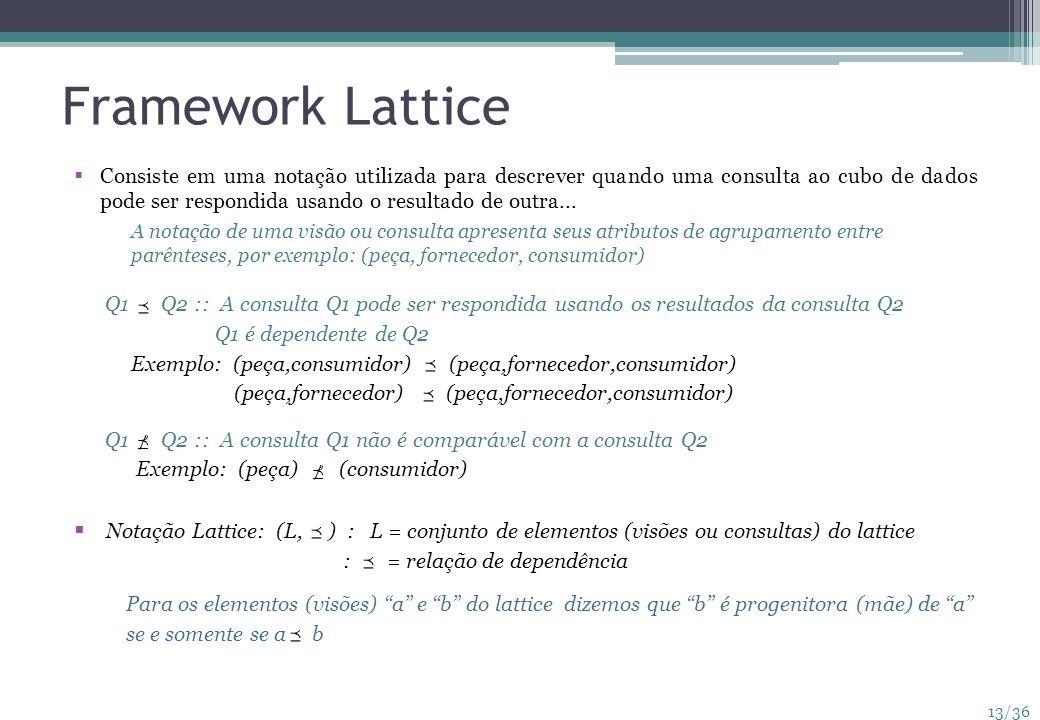 13/36 Framework Lattice Consiste em uma notação utilizada para descrever quando uma consulta ao cubo de dados pode ser respondida usando o resultado d