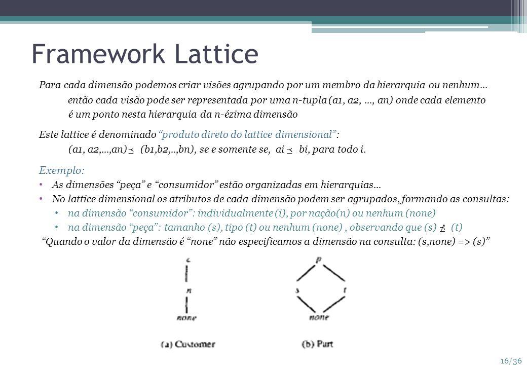 16/36 Framework Lattice Para cada dimensão podemos criar visões agrupando por um membro da hierarquia ou nenhum... então cada visão pode ser represent