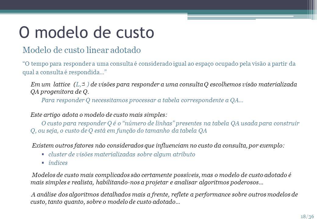 18/36 O modelo de custo Modelo de custo linear adotado O tempo para responder a uma consulta é considerado igual ao espaço ocupado pela visão a partir
