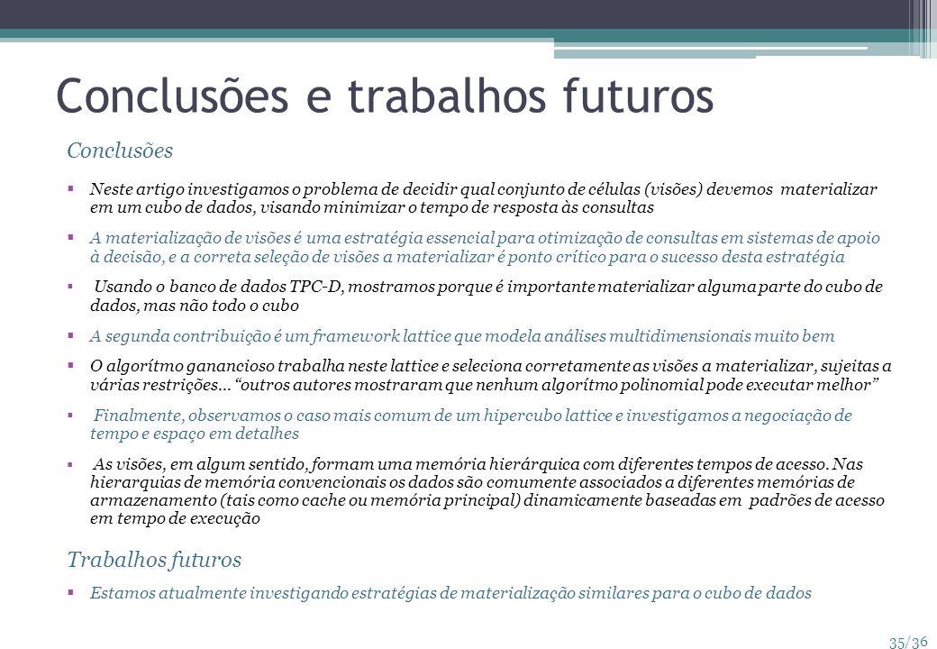 35/36 Conclusões e trabalhos futuros Conclusões Neste artigo investigamos o problema de decidir qual conjunto de células (visões) devemos materializar