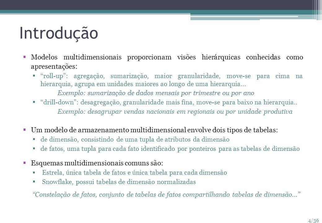 4/36 Introdução Modelos multidimensionais proporcionam visões hierárquicas conhecidas como apresentações : roll-up: agregação, sumarização, maior gran