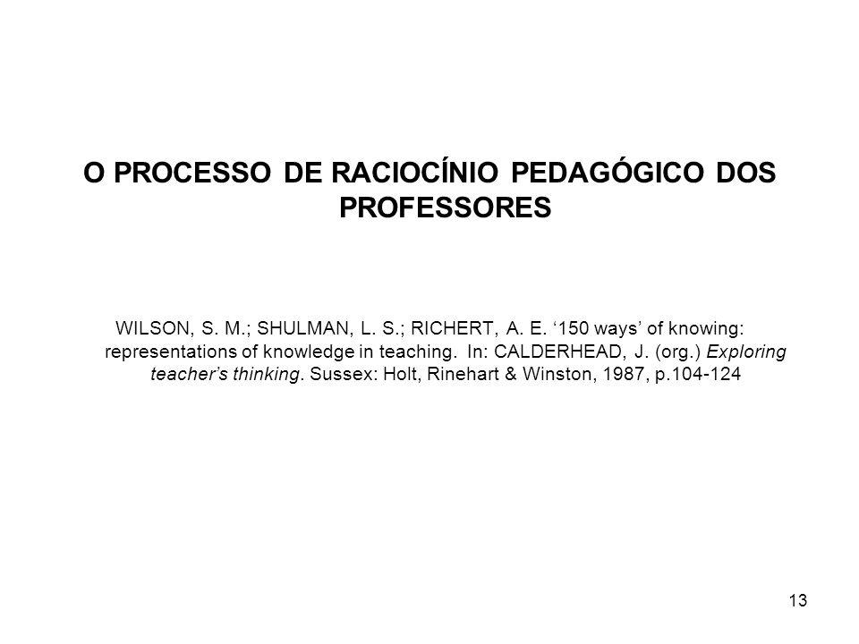 13 O PROCESSO DE RACIOCÍNIO PEDAGÓGICO DOS PROFESSORES WILSON, S. M.; SHULMAN, L. S.; RICHERT, A. E. 150 ways of knowing: representations of knowledge