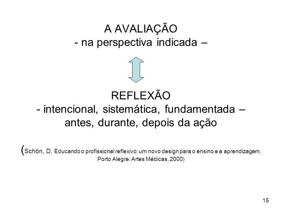 15 A AVALIAÇÃO - na perspectiva indicada – REFLEXÃO - intencional, sistemática, fundamentada – antes, durante, depois da ação ( Schön, D. Educando o p