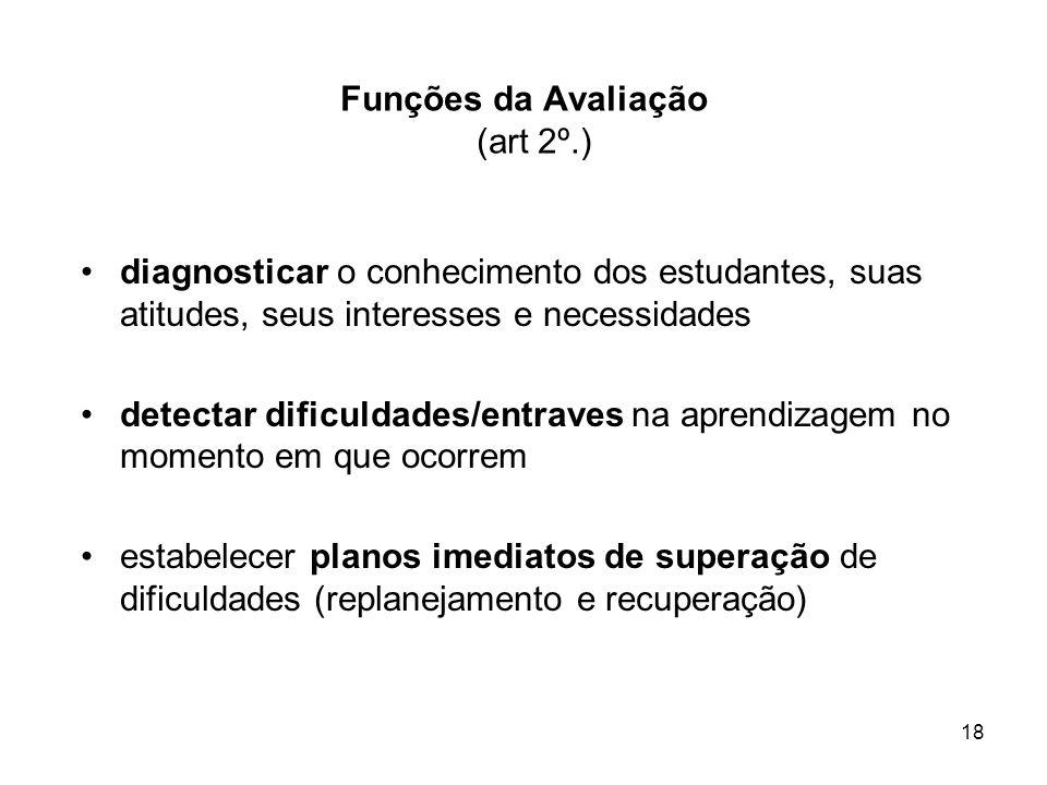 18 Funções da Avaliação (art 2º.) diagnosticar o conhecimento dos estudantes, suas atitudes, seus interesses e necessidades detectar dificuldades/entr