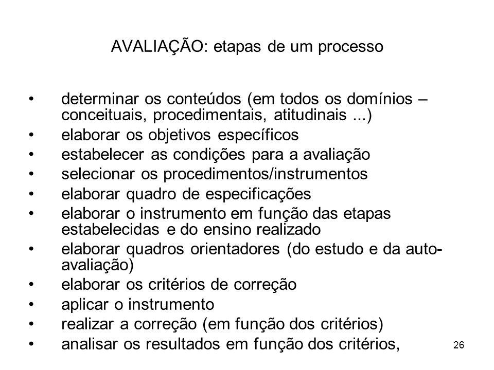26 AVALIAÇÃO: etapas de um processo determinar os conteúdos (em todos os domínios – conceituais, procedimentais, atitudinais...) elaborar os objetivos