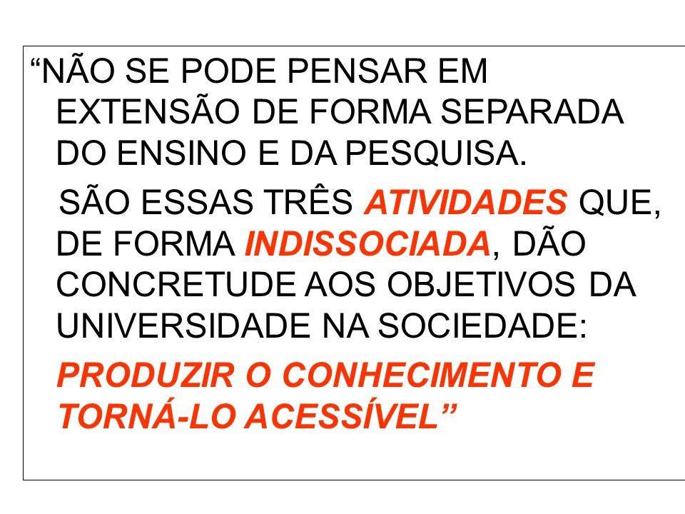 NÃO SE PODE PENSAR EM EXTENSÃO DE FORMA SEPARADA DO ENSINO E DA PESQUISA.
