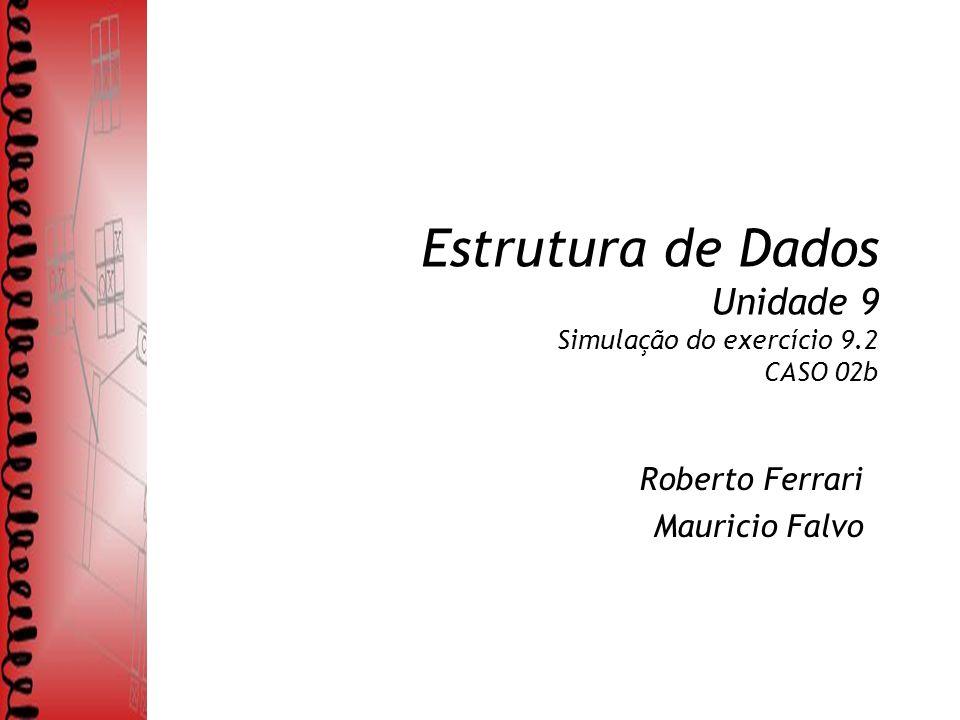 Estrutura de Dados Unidade 9 Simulação do exercício 9.2 CASO 02b Roberto Ferrari Mauricio Falvo