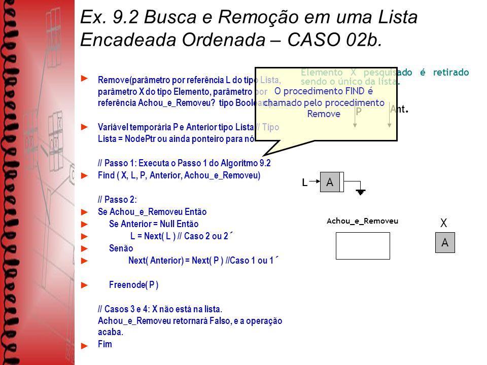 Ex.9.2 Busca e Remoção em uma Lista Encadeada Ordenada – CASO 02b.