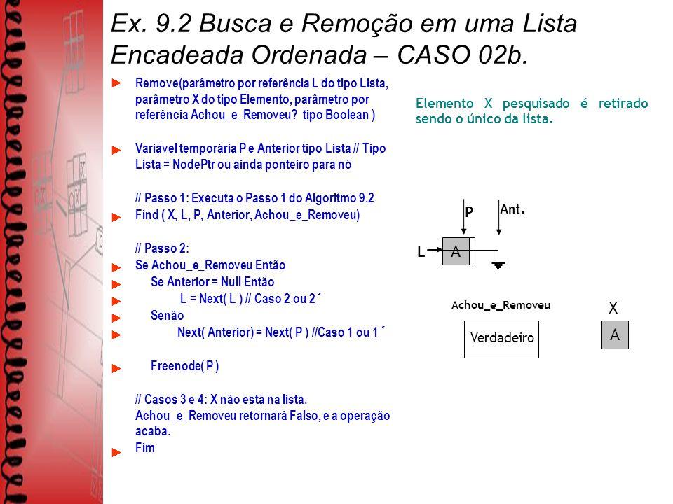 Ex. 9.2 Busca e Remoção em uma Lista Encadeada Ordenada – CASO 02b.