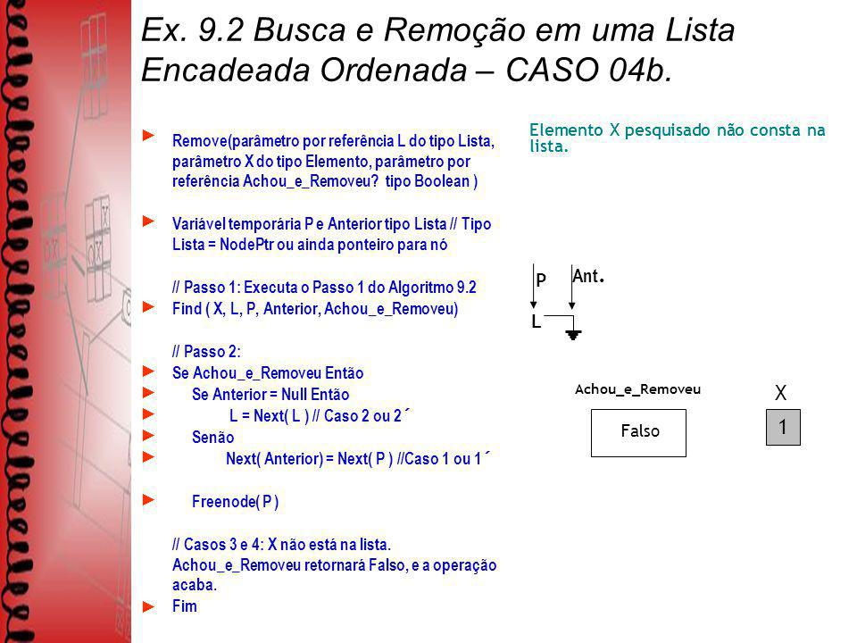 Ex. 9.2 Busca e Remoção em uma Lista Encadeada Ordenada – CASO 04b.