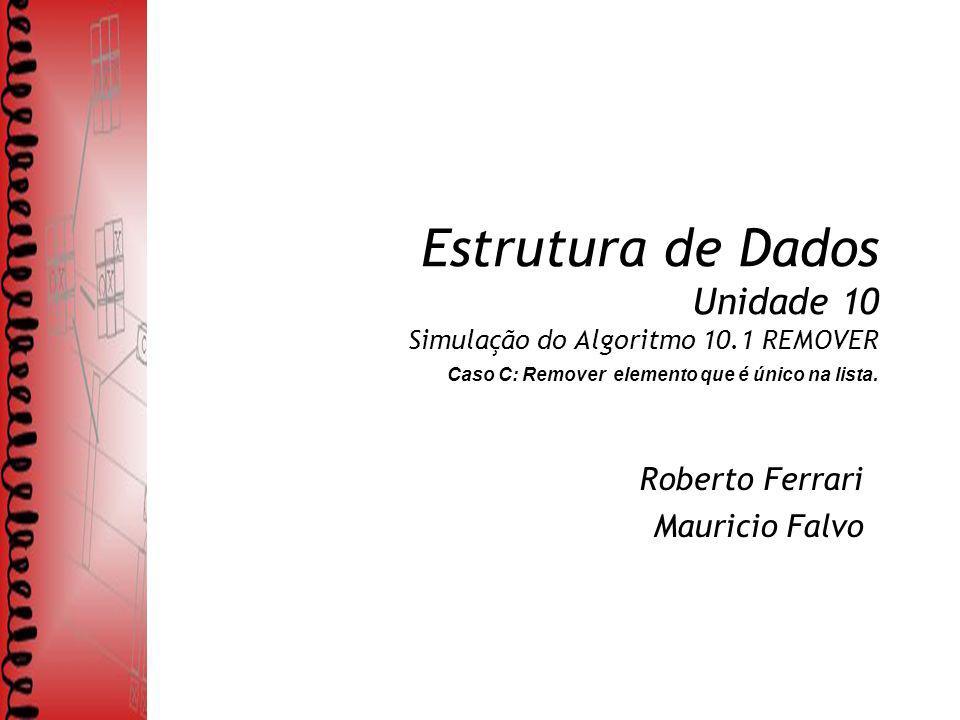 Estrutura de Dados Unidade 10 Simulação do Algoritmo 10.1 REMOVER Caso C: Remover elemento que é único na lista. Roberto Ferrari Mauricio Falvo