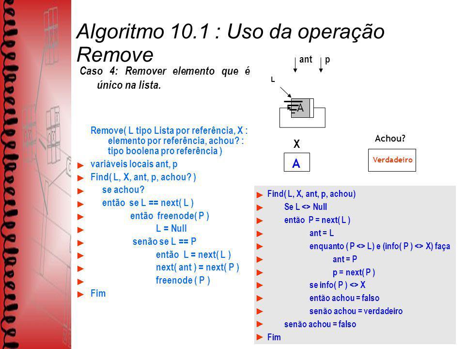 Algoritmo 10.1 : Uso da operação Remove Remove( L tipo Lista por referência, X : elemento por referência, achou? : tipo boolena pro referência ) variá