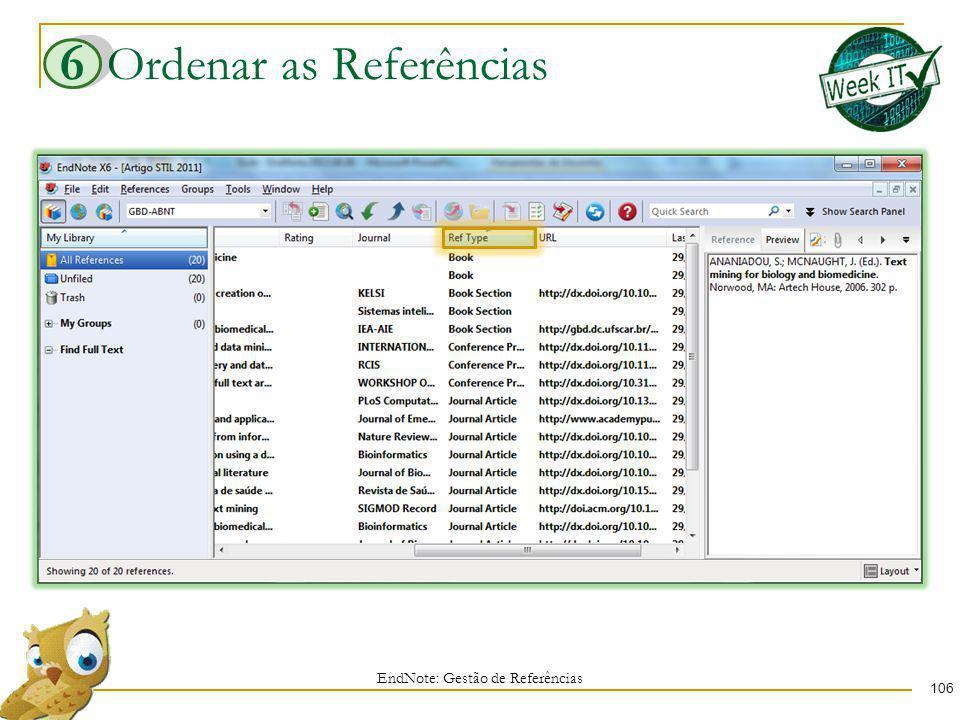Ordenar as Referências 106 EndNote: Gestão de Referências 6