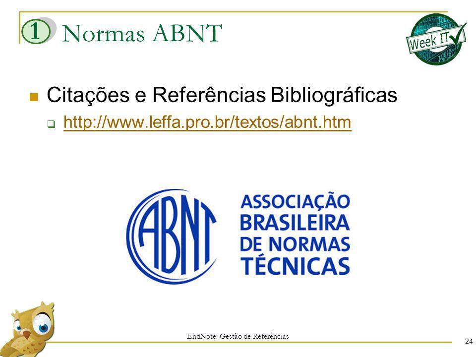 Normas ABNT 24 Citações e Referências Bibliográficas http://www.leffa.pro.br/textos/abnt.htm EndNote: Gestão de Referências 1