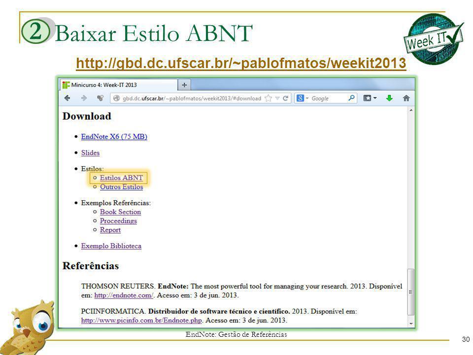 Baixar Estilo ABNT EndNote: Gestão de Referências 30 http://gbd.dc.ufscar.br/~pablofmatos/weekit2013 2