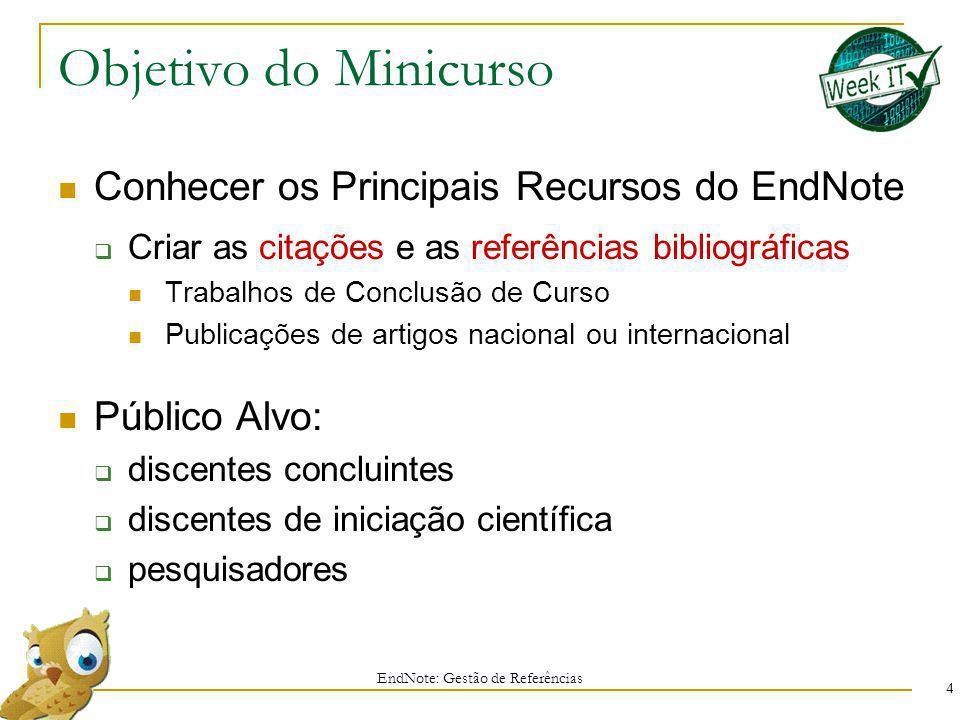 Objetivo do Minicurso Conhecer os Principais Recursos do EndNote Criar as citações e as referências bibliográficas Trabalhos de Conclusão de Curso Pub