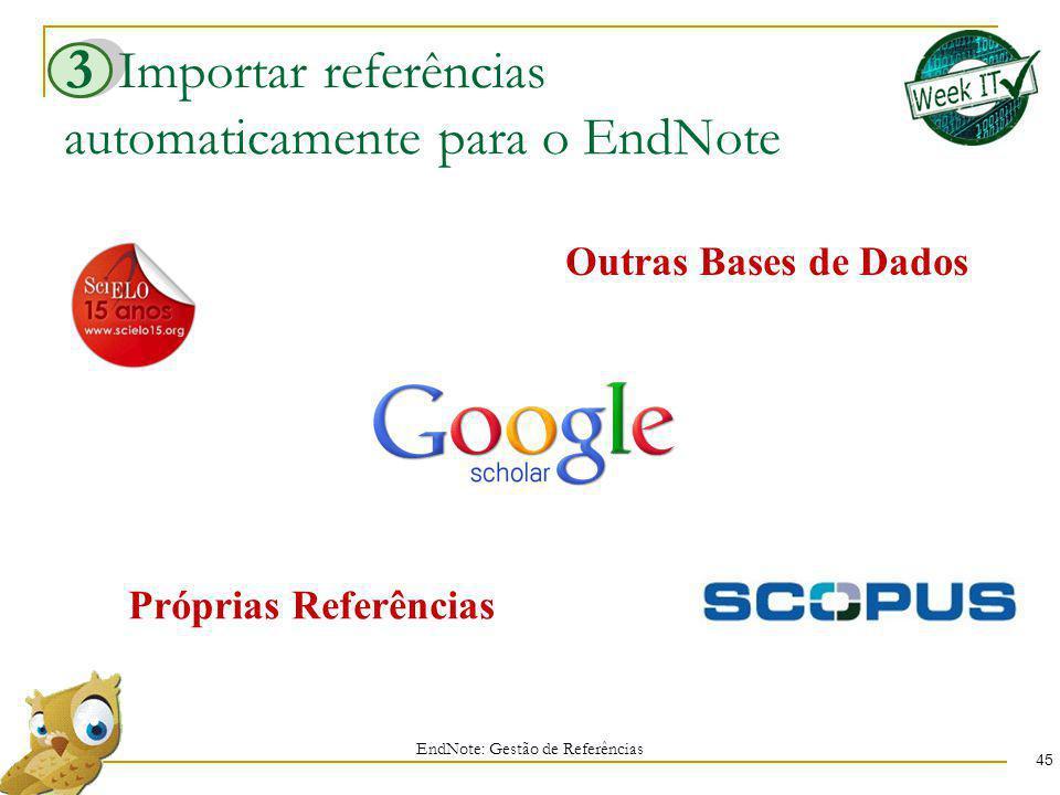Importar referências automaticamente para o EndNote 45 EndNote: Gestão de Referências 3 Próprias Referências Outras Bases de Dados