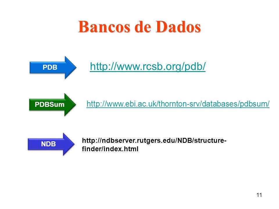 11 Bancos de Dados http://www.ebi.ac.uk/thornton-srv/databases/pdbsum/ http://www.rcsb.org/pdb/ PDB PDBSum NDB http://ndbserver.rutgers.edu/NDB/struct