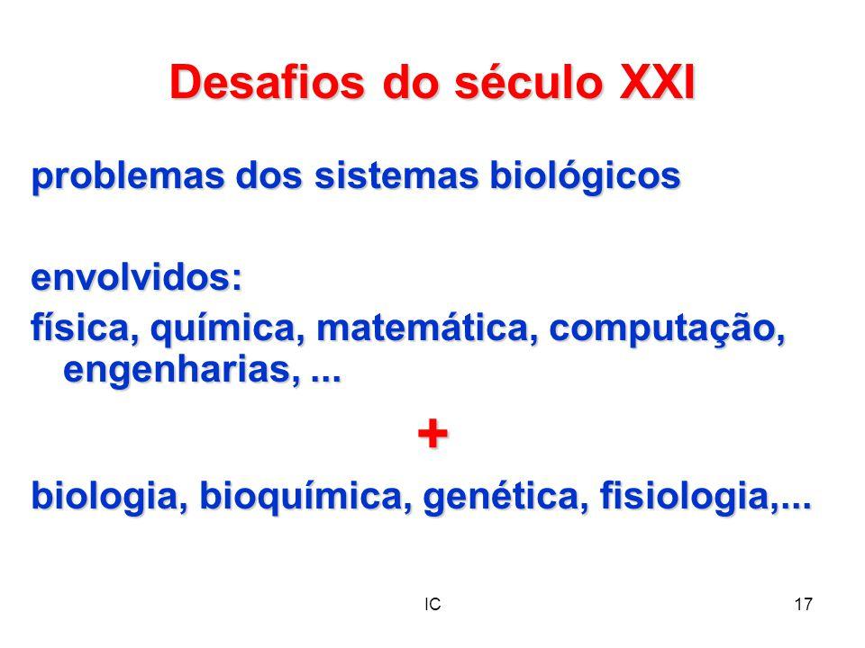 IC17 Desafios do século XXI problemas dos sistemas biológicos envolvidos: física, química, matemática, computação, engenharias,... + biologia, bioquím