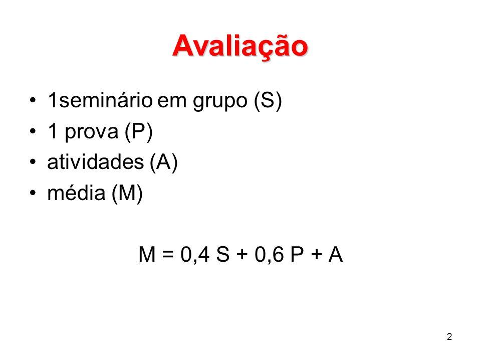 Avaliação 1seminário em grupo (S) 1 prova (P) atividades (A) média (M) M = 0,4 S + 0,6 P + A 2