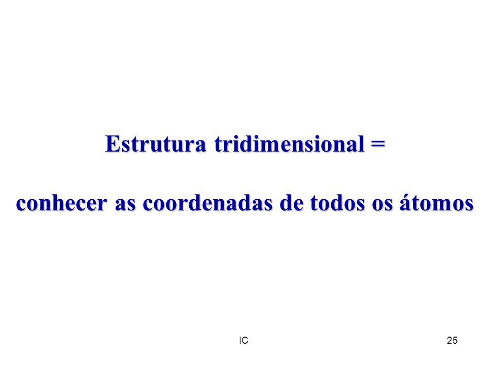IC25 Estrutura tridimensional = conhecer as coordenadas de todos os átomos